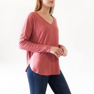 Tops - B2G1 FREE Coral long sleeve v neck loose fit top